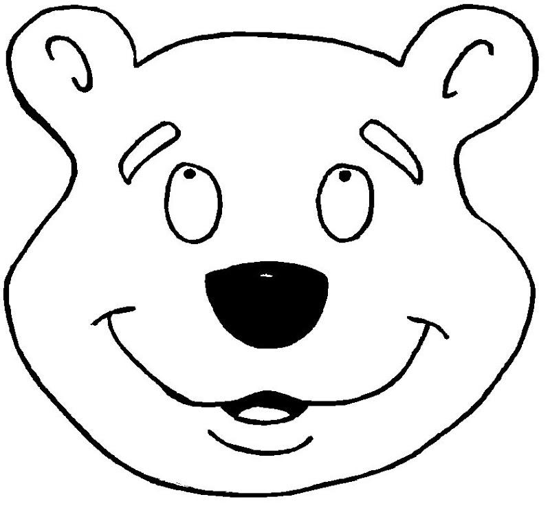 pinto dibujos máscara de oso para colorear