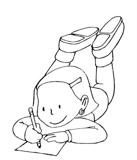 school homework coloring pages | 為孩子們的著色頁: Doing homework - coloring pages
