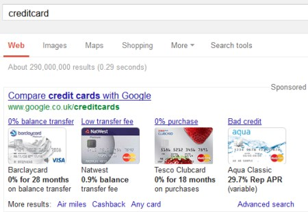 credit card search in google