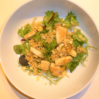 Healthy Chicken, Giant Cous Cous and Almond Salad with a Honey and Mustard Dressing
