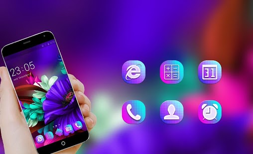 Purple Bloom:Flower launcher for Samsung S6 theme - náhled