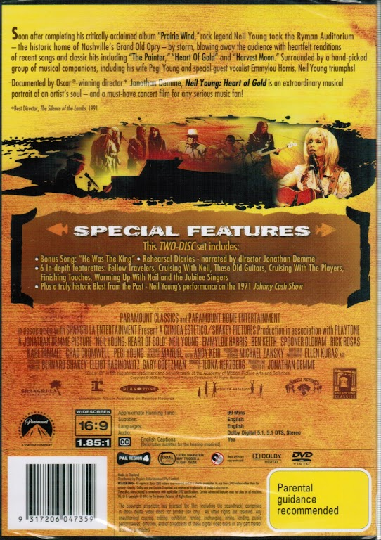 Neil Young Heart of Gold , A Jonathan Demme Picture DVD ...  Neil Young Hear...