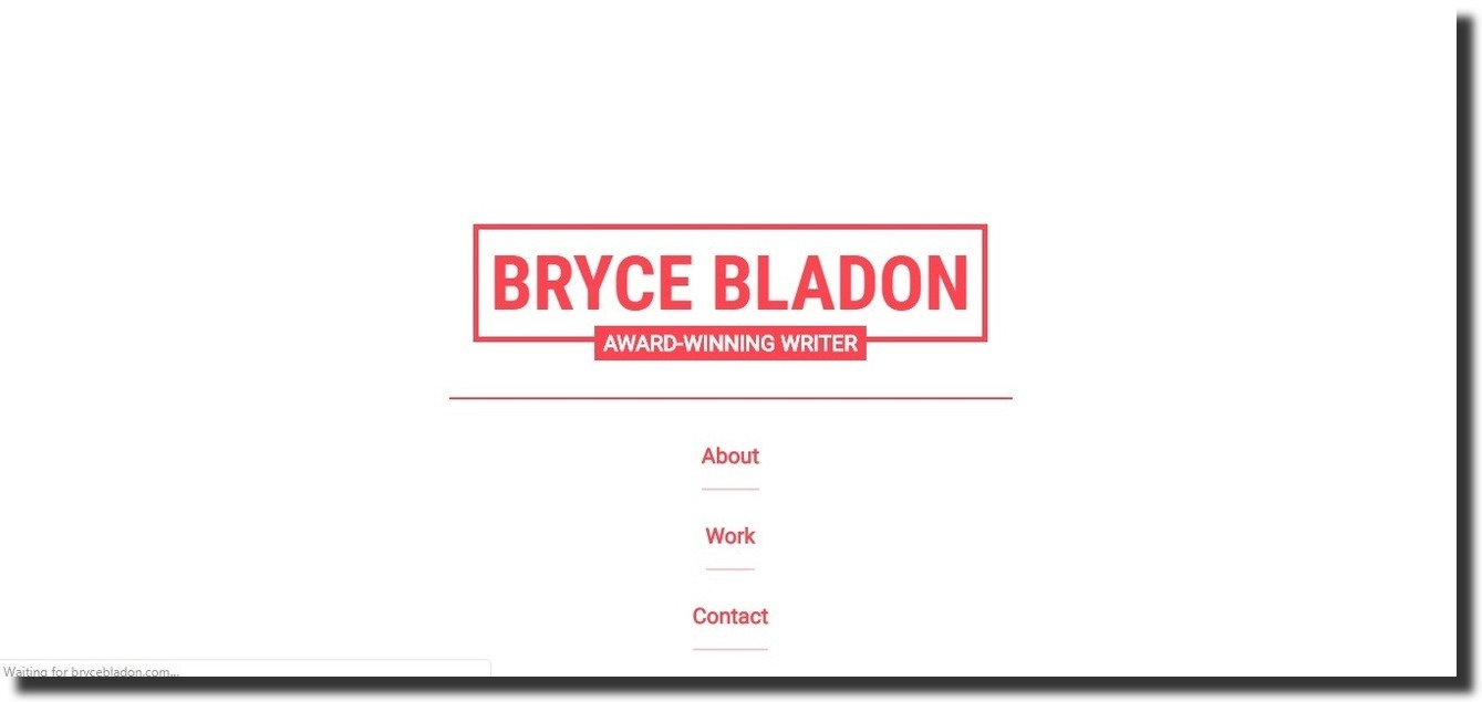 Bryce Bladon website features consulting website design