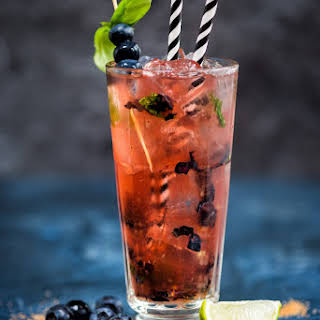 Blueberry basil Moscow Mule cocktail.