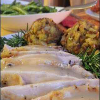 Turkey Breast Roasted in White Wine with Pan Gravy
