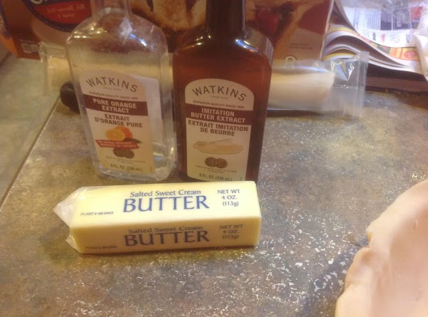 Now add the orange and butter extract, and stir till it is blended in.
