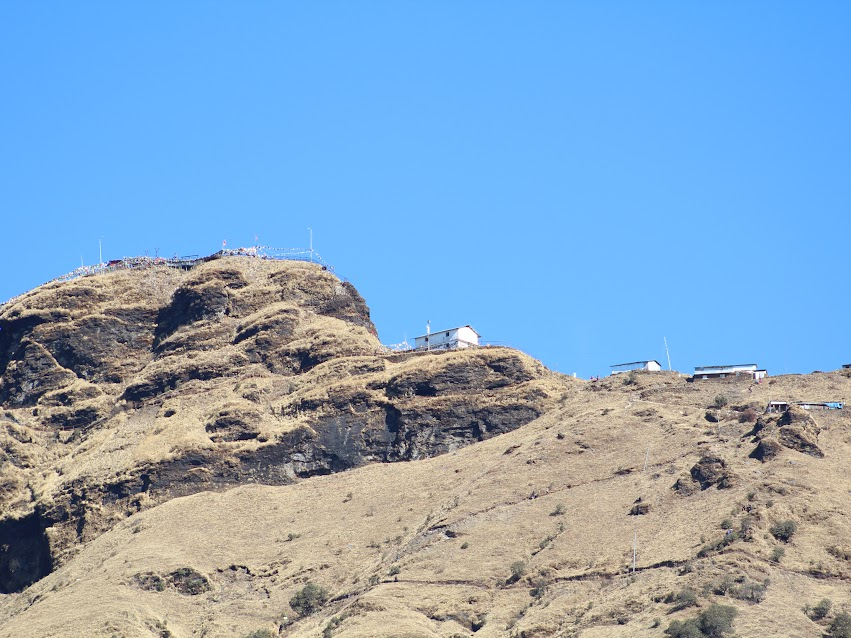 Kalinchowk Temple at the top as seen from Kuri Village