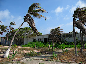 Photo: Abandoned school at the old Esso refinery near Baby Beach