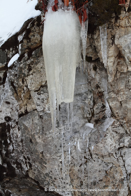 Icicles enroute to Bumla Pass