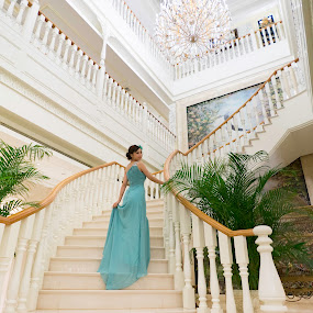 Elegant beauty by Billy C S Wong - People Fashion ( chandelier, stairs, elegant, hotel lobby, hotel, beauty,  )