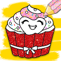 Cupcakes Coloring Book Glitter and Pattern icon