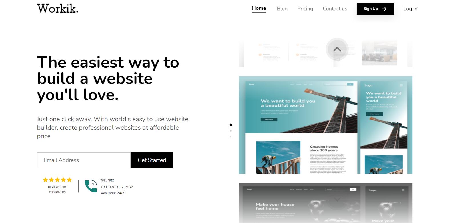Workik website builder homepage