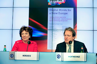 Photo: Neelie Kroes, former vice-president of the European Commission and commissioner for the digital agenda (2009-2014); and Paul Hofheinz, president and co-founder, the Lisbon Council