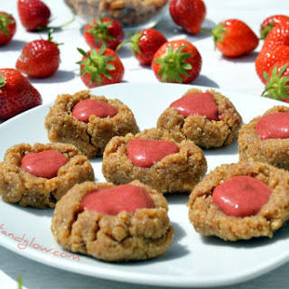 Raw Strawberry Thumbprint Cookies.