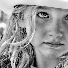 Cowgirl by Sandy Considine - Black & White Portraits & People ( blonde, young girl, western hat )