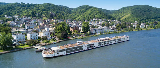 Viking Idun sails on the Rhine past the historic town of Boppard, Germany.
