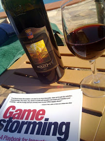 A good book and wine; well, somebody's got to do it...