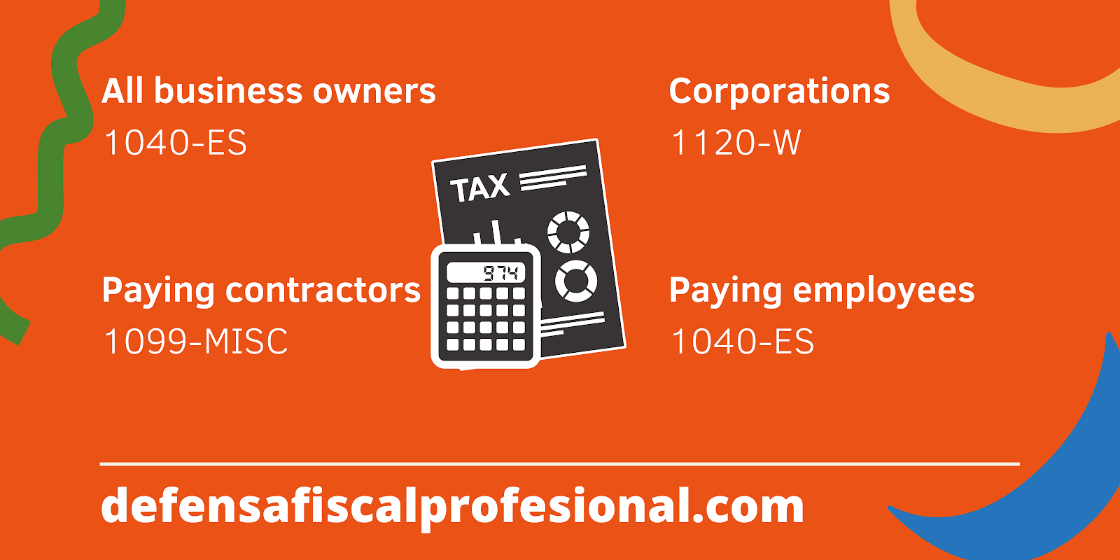 Infographic showing different tax forms