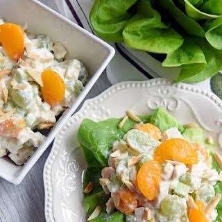 Mandarin Chicken Salad with Grapes and Yogurt Dijon Dressing.