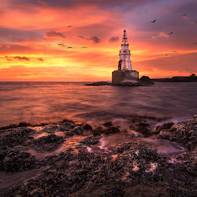 Amazing sunrise by Atanas Donev - Landscapes Waterscapes ( sky, lighthouse, sea, sunrise, rocks,  )