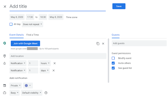 Schedule a Google Meet on Google Calendar
