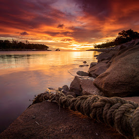 Miri River Mouth Sunset by Andrew Micheal - Landscapes Sunsets & Sunrises ( miri, sunset, sunrise, landscapes )