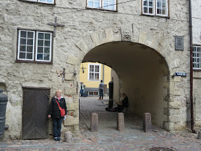 Photo: Laurie at the Swedish Gate built in 1698 when the Swedes controlled Riga