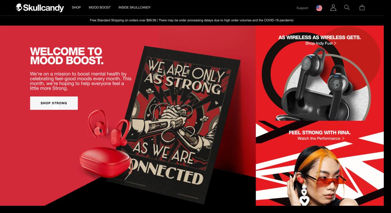 Skullcandy website screenshot audio company Ecommerce Website Designs