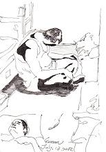 Photo: 暑囚2012.07.13鋼筆 酷暑猶似瓦斯爐 火力全開天天煮 牢房悶熱賽蒸籠 煲得人肉幾欲熟 電風扇與抽風機 房裡只有各其一 凌晨兩五依序關 汗已蒸乾油欲滴