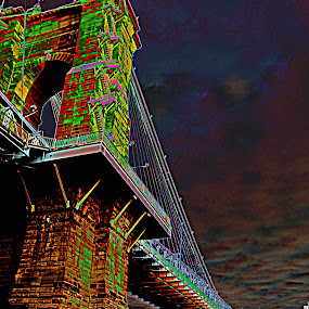 Suspension Bridge Polarize by Karen Harris - City,  Street & Park  Skylines ( water, cincy, suspension bridge, ohio river, cincinnati, bridge, river )