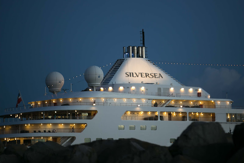 Silver Spirit lights up at dusk in St. Kitts.