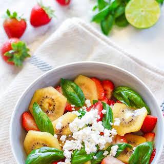 Strawberry Kiwi Basil Salad.