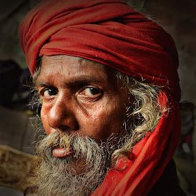 The Worrior Monk by Arnab Bhattacharyya - People Portraits of Men