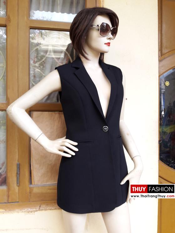 Áo blazer nữ dáng dài sát nách V370 thời trang thủy