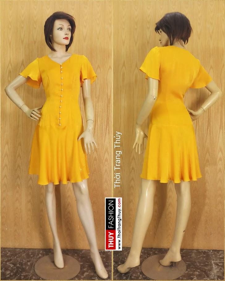 Váy xoè tay loe vải lụa màu vàng V687 thời trang thuỷ nam định
