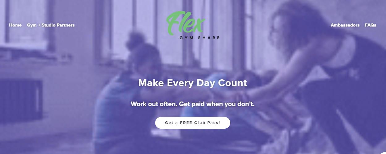 The Flex Gym Share website