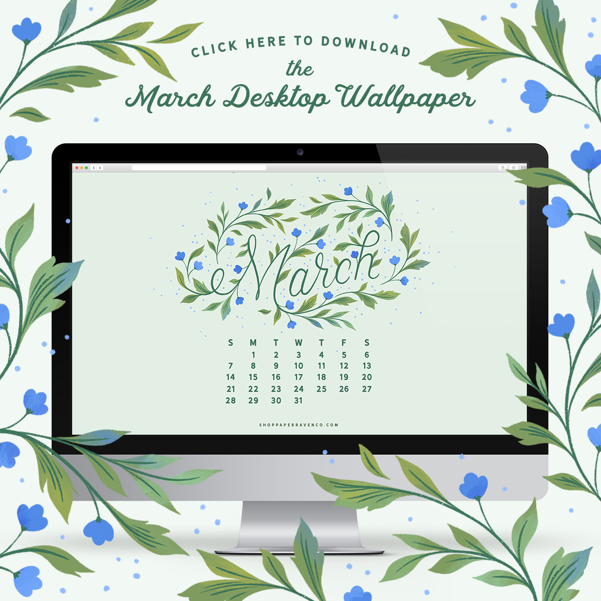 March 2021 Illustrated Desktop Wallpaper by Paper Raven Co. #dressyourtech #desktopwallpaper #desktopdownload