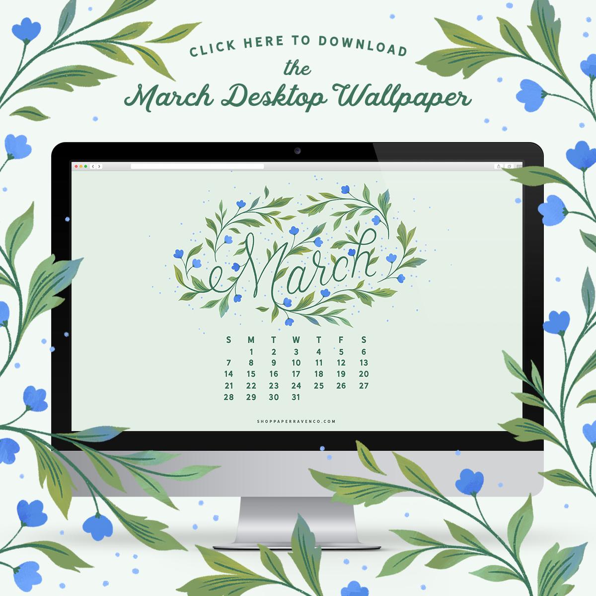 March 2021 Illustrated Desktop Wallpaper by Paper Raven Co. #dressyourtech #desktopwallpaper #desktopdownload