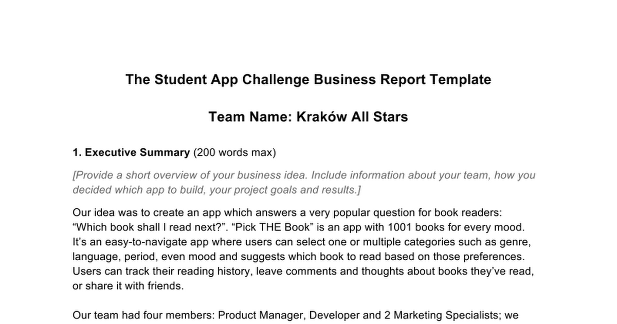 Business Report Example Google Docs – Short Report Example