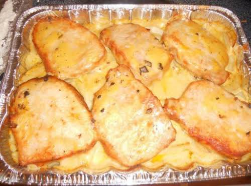 """Pork Chop Potato Casserole""""I just made this dish for dinner tonight and..."""