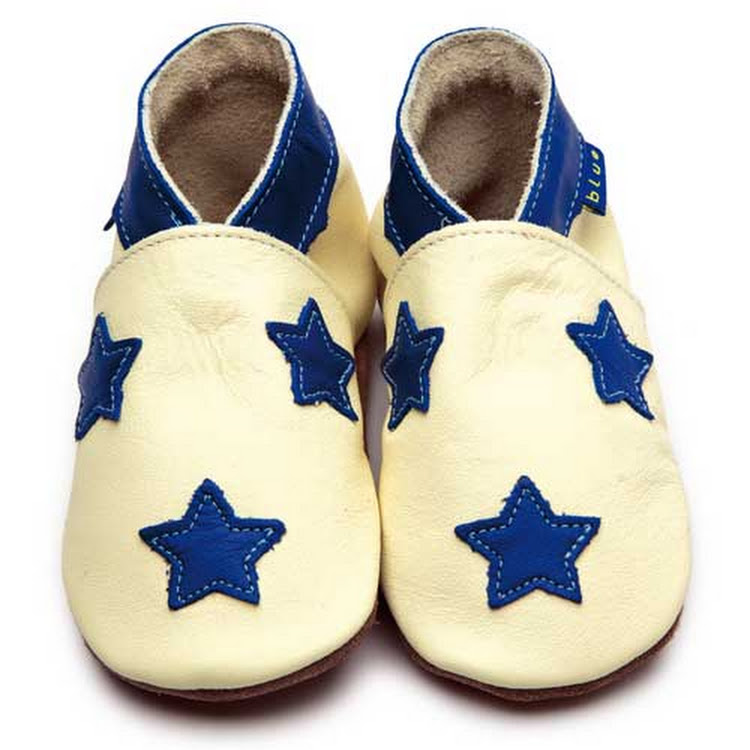 Inch Blue Soft Sole Leather Shoes - Stardom Buttermilk Cobalt (6-12 months)