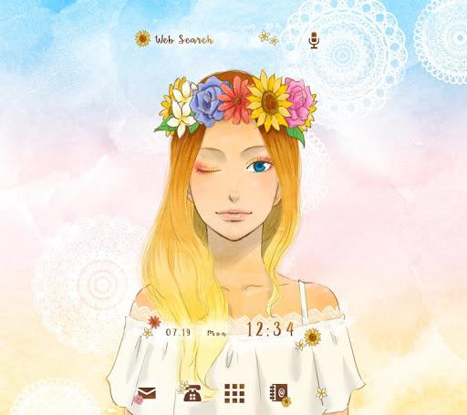 Sunflower Girl +HOME Theme 1.0.0 Windows u7528 1