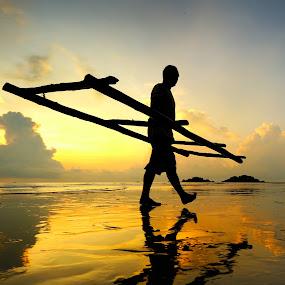 Morning Steps by Bob Shahrul - People Portraits of Men ( terengganu, sunrise, beach, fisherman, reclection, human )