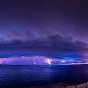 Shell cell over sea by Andrej Folo - Landscapes Weather ( stormy, clouds, tunder, shell, cell, clouds and sea, cloudscape, seascape, glow, landscape, storm, people, panorama, nightscape, sky, night photography, lighting, color, blue, long shot, long exposure, night, longexposure, rocks,  )