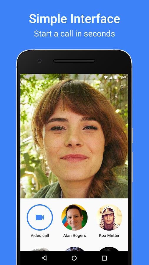 Screenshots of Google Duo for iPhone