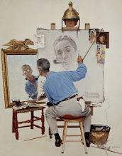 """Photo: Norman Rockwell """"Triple Self-Portrait""""  Oil on canvas """"Saturday Evening Post"""" cover, February 13, 1960"""
