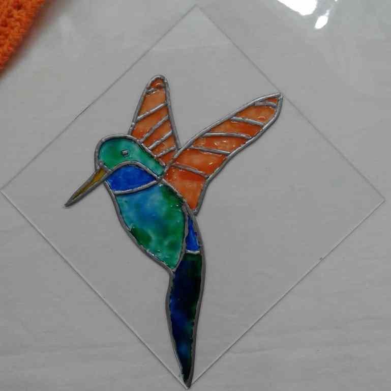 Faux vitrail - colibri