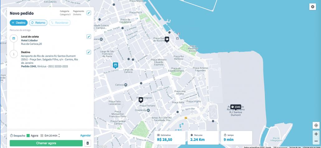 Mapa do Rio de Janeiro na plataforma de entregas da machine
