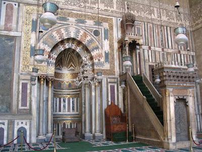Interior de Mequita en el Cairo, Egipto
