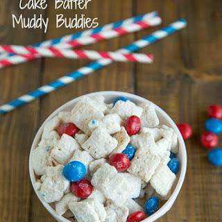 Red, White & Blue Cake Batter Muddy Buddies